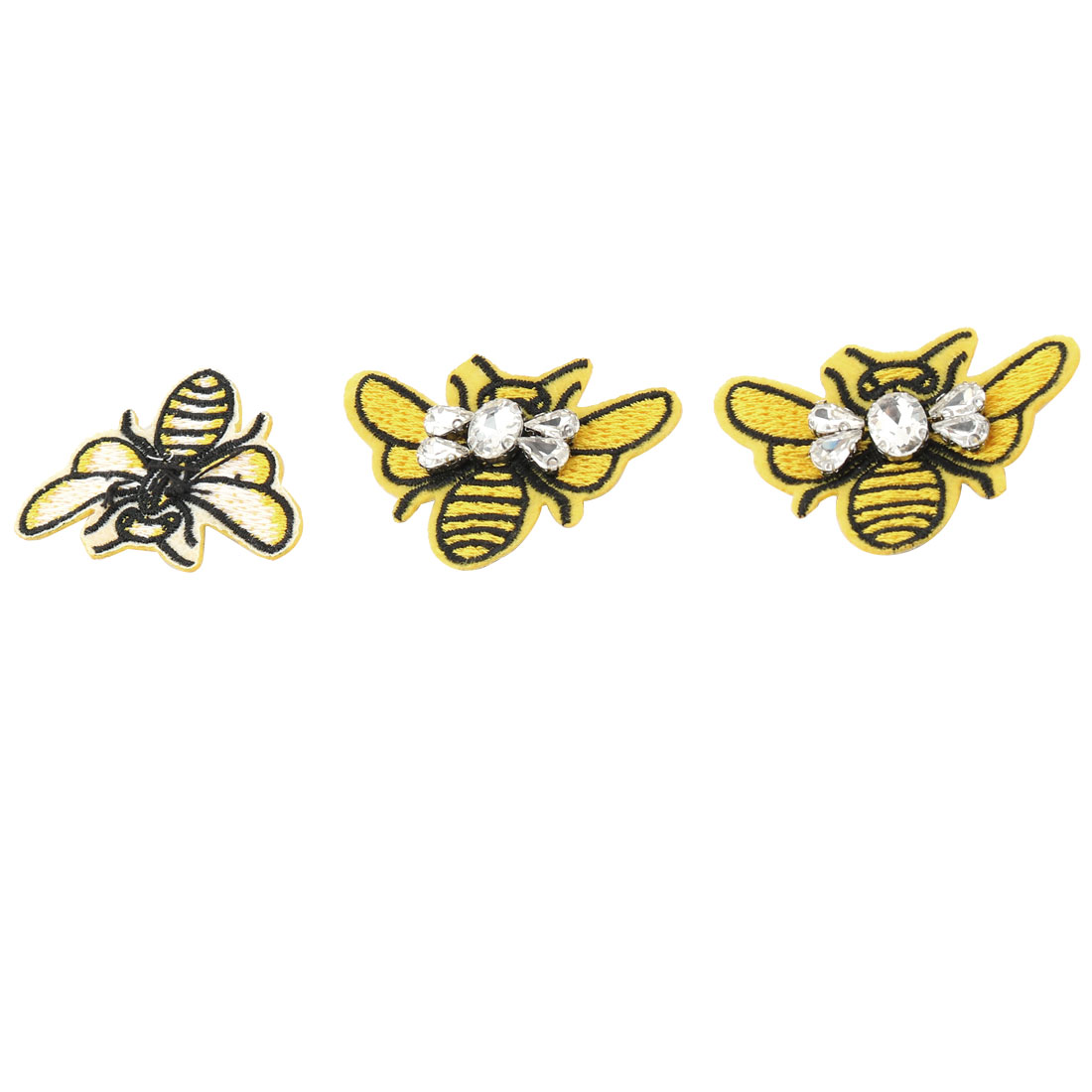 DIY Craft Fabric Bee Shaped Bag Clothes Embroidery Patches Applique Sticker 3pcs