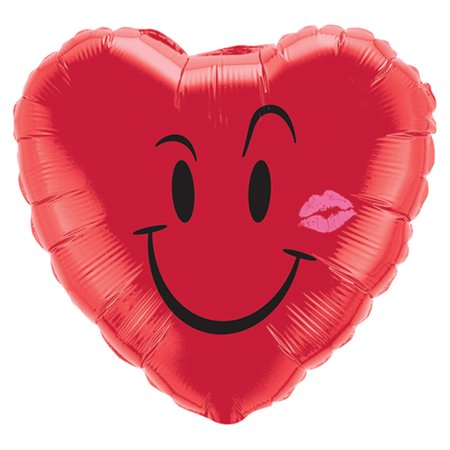 Qualatex Naughty Smile & A Kiss Valentine Heart Shaped 18' Foil Balloon, Red