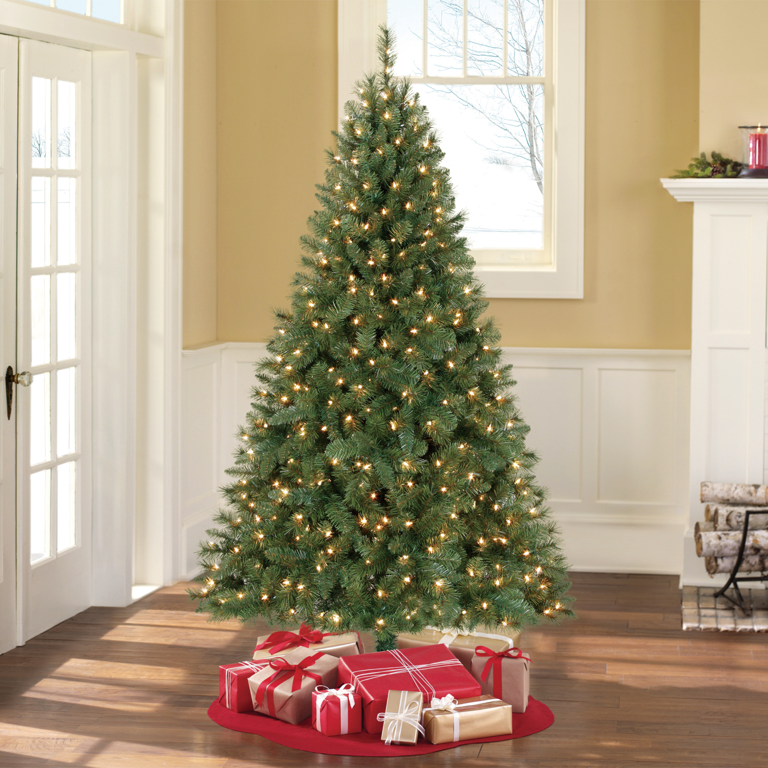 Holiday Time Pre-Lit 6.5\' Windham Pine Artificial Christmas Tree ...