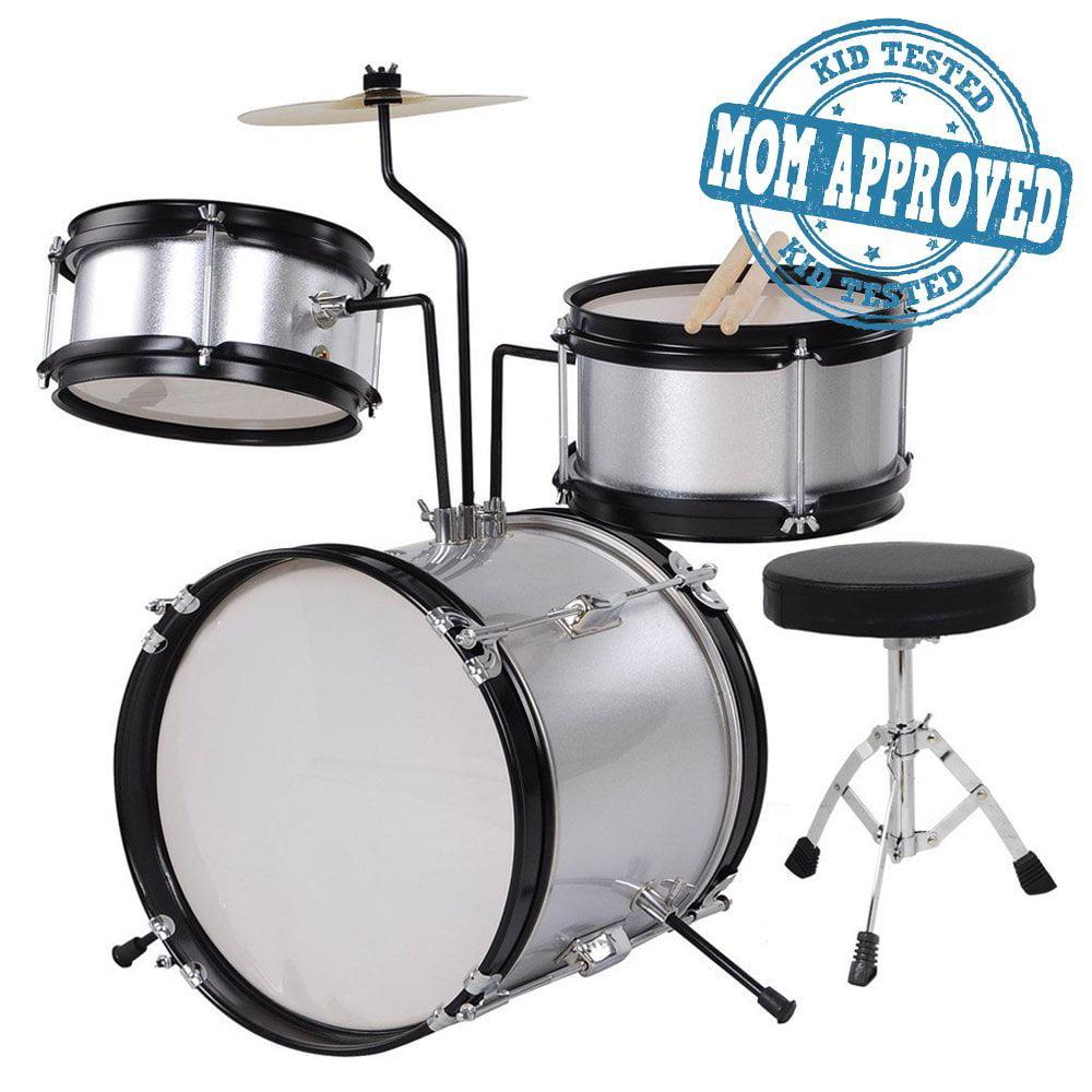 Koval Inc. Kids Drum Set, 3 Piece Junior Drum Set Kit (Silver) by