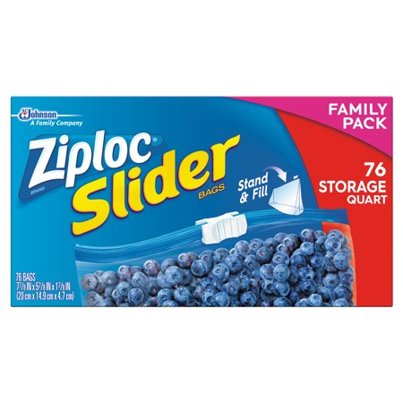 Ziploc Slider Zipper Food Storage Bags Quart 76 Ct