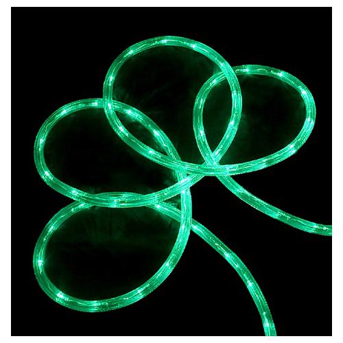 "18' Green LED Indoor/Outdoor Christmas Rope Lights - 2"" Bulb Spacing"