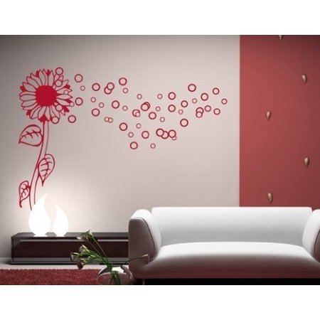 bubble flower wall decal - wall sticker, vinyl wall art, home decor