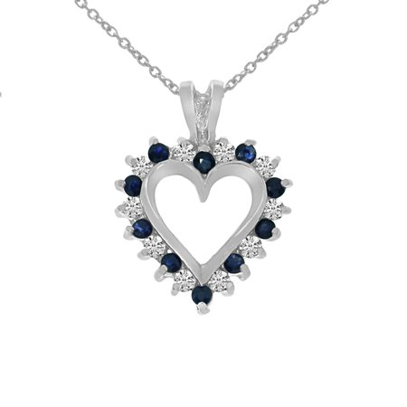14k white gold sapphire and diamond heart shaped pendant with 18 14k white gold sapphire and diamond heart shaped pendant with 18 chain aloadofball Gallery