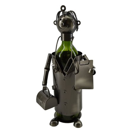 Happy Doctor with Suitcase and Patient Clipboard Wine Bottle Holder - Doctor Wine Bottle