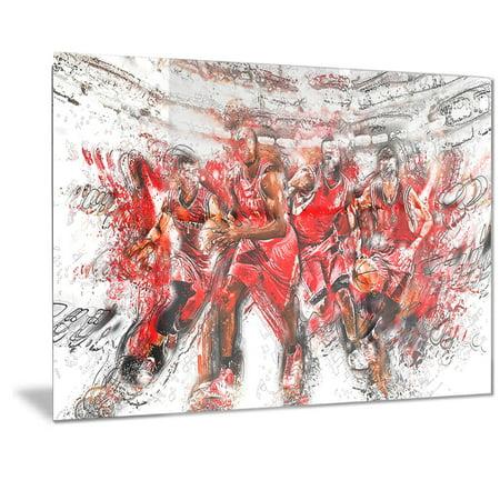 DESIGN ART Designart 'Basketball Offense Line Metal Wall Art