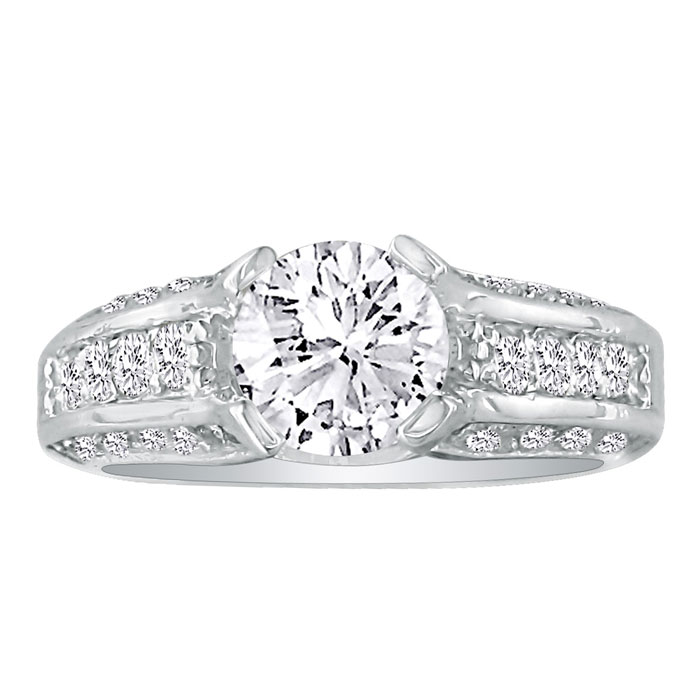 Hansa 2 3/4ct Diamond Round Engagement Ring in 18k White ...