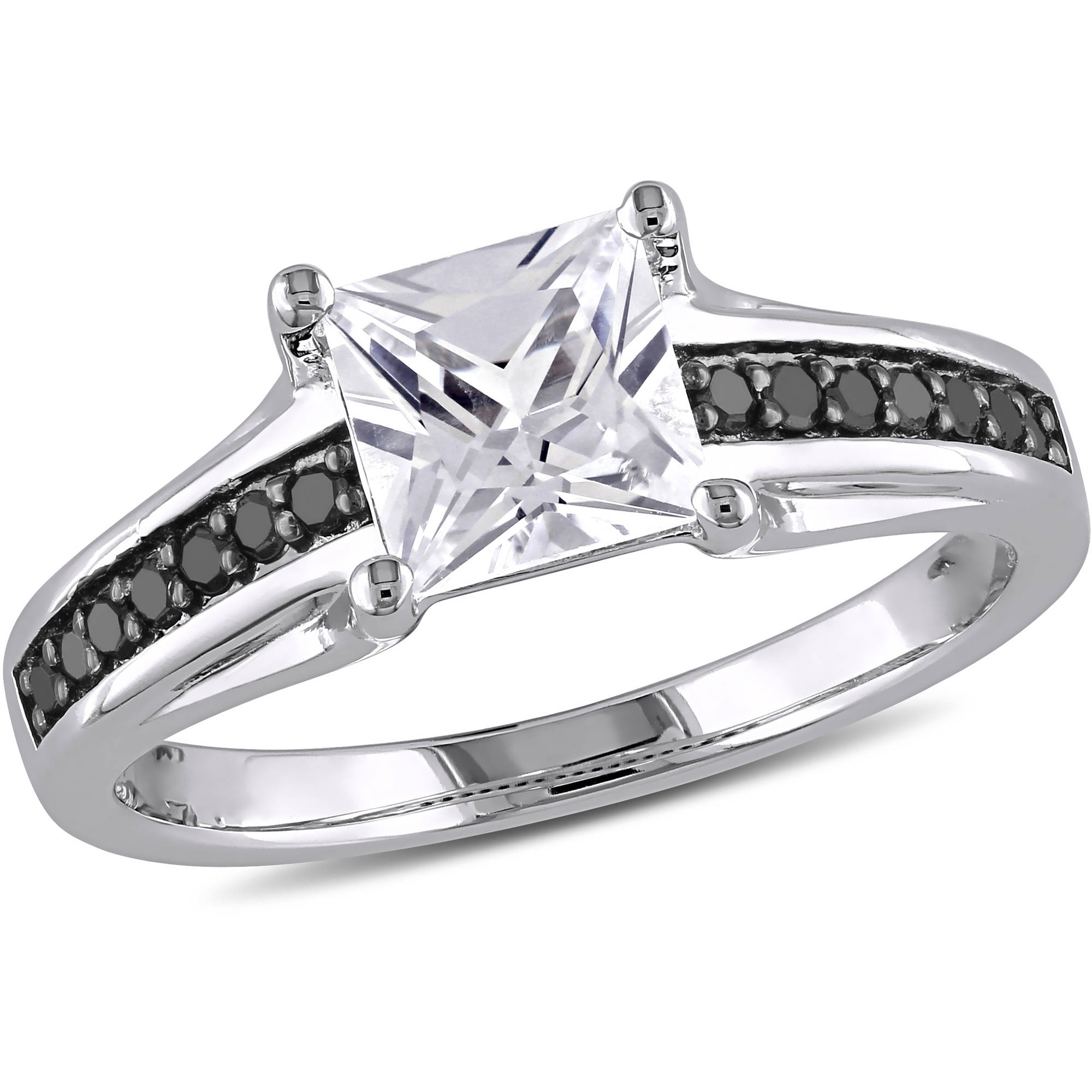 1-1/3 Carat T.G.W. Created White Sapphire and 1/7 Carat T.W. Black Diamond Sterling Silver Engagement Ring