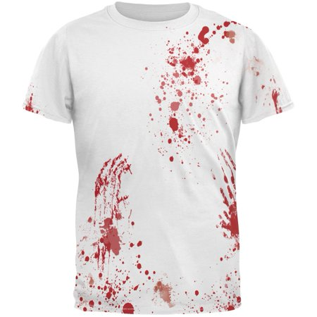 Halloween Blood Splatter All Over Costume Adult T-Shirt - Ripped T Shirt Blood Halloween