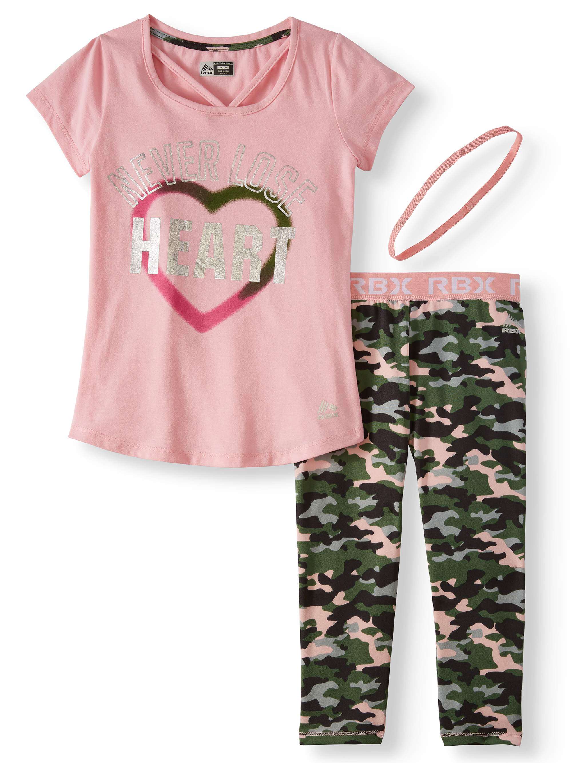V-Neck Graphic Top and Camo Performance Legging, 2-Piece Active Set (Little Girls & Big Girls)