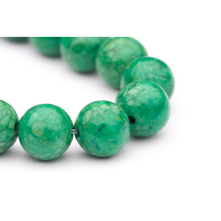 - Round - Shaped Green Man Made Turquoise Beads Semi Precious Gemstones Size: 10x10mm Crystal Energy Stone Healing Power for Jewelry Making