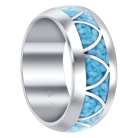 Gem Avenue Men's 925 Sterling Silver Turquoise Arch Inlay Design