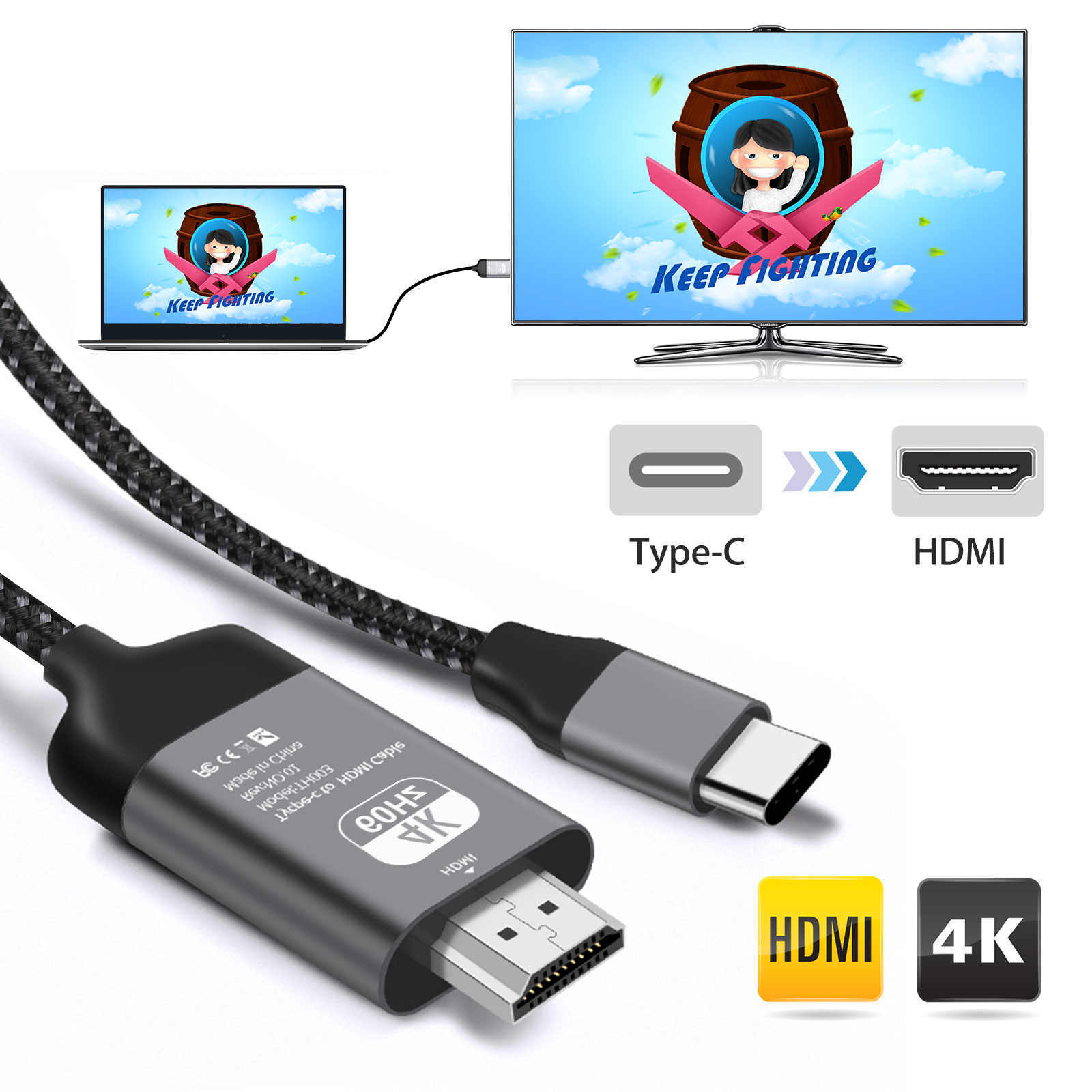 USB-C Type-C to HDMI HDTV Adapter for Samsung Galaxy S9 S8 Note 8 LG G6//G5//V20