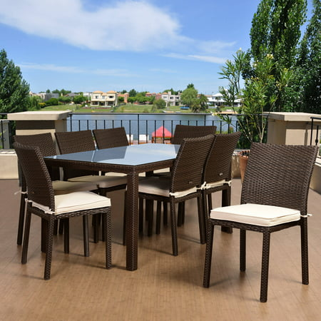 Atlantic Dining Set Liberty Rect Small Table With 8 Libertysidechairs  Brown Wicker Off White Pads