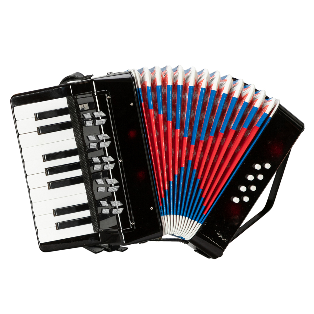 17-Tasten 8 Bass Mini Akkordeon Lernspielzeug für Kinder Schwarz N5R2