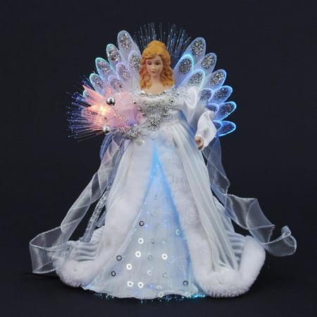 12 Quot Elegant Silver And White Led Light Fiber Optic Angel