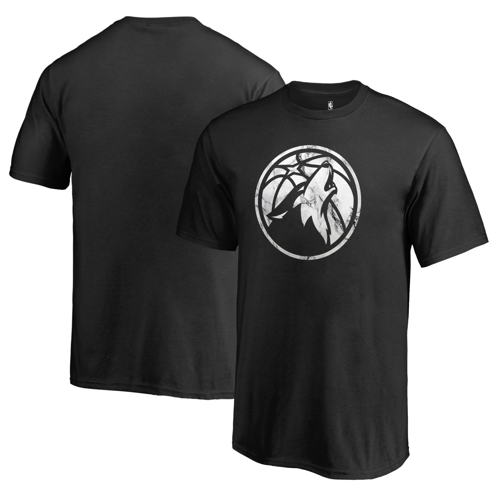 Minnesota Timberwolves Fanatics Branded Youth Marble Logo T-Shirt - Black