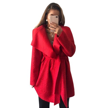 78f803c93c7 HIMONE - Wool Lapel Long Coat Women Winter Warm Trench Parka Jacket Overcoat  Cardigan Outwear Asymmetrical Irregular Outerwear - Walmart.com