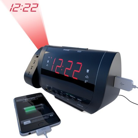 best alarm clock radio with time projection usb charger for smartphones tablets large led. Black Bedroom Furniture Sets. Home Design Ideas