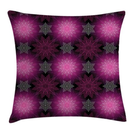 Fractal Throw Pillow Cushion Cover, Radiant Fragmented Floral Flower Petals Pattern with Translucent Lotus Artwork, Decorative Square Accent Pillow Case, 16 X 16 Inches, Plum Violet, by (Violet Plum)