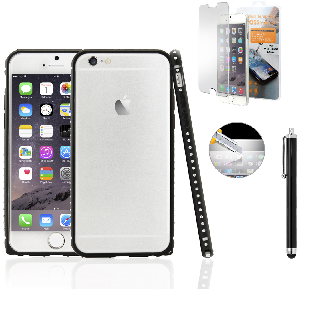"Luxury Bling Rhinestones Metal Aluminum Alloy Bumper Hard Frame Shell Case Cover for Apple 4.7"" iPhone 6 with Free Tempered Glass Screen Guard"