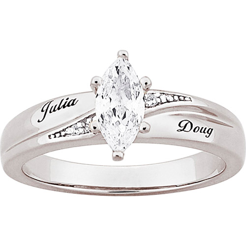 Personalized Platinum-Plated Marquise Cubic Zirconia with Diamond Accent Engagement Ring