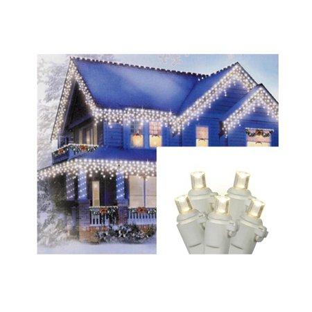 Set of 70 Warm White LED Wide Angle Icicle Christmas Lights - White Wire - image 2 de 2