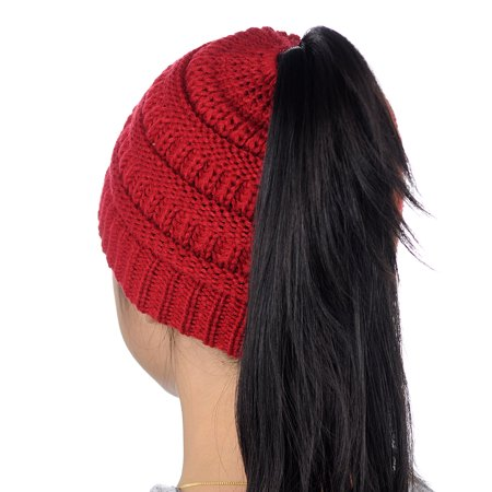 52688317007 NYFASHION101 - C.C BeanieTail Kids  Children s Soft Cable Knit Messy High  Bun Ponytail Beanie Hat