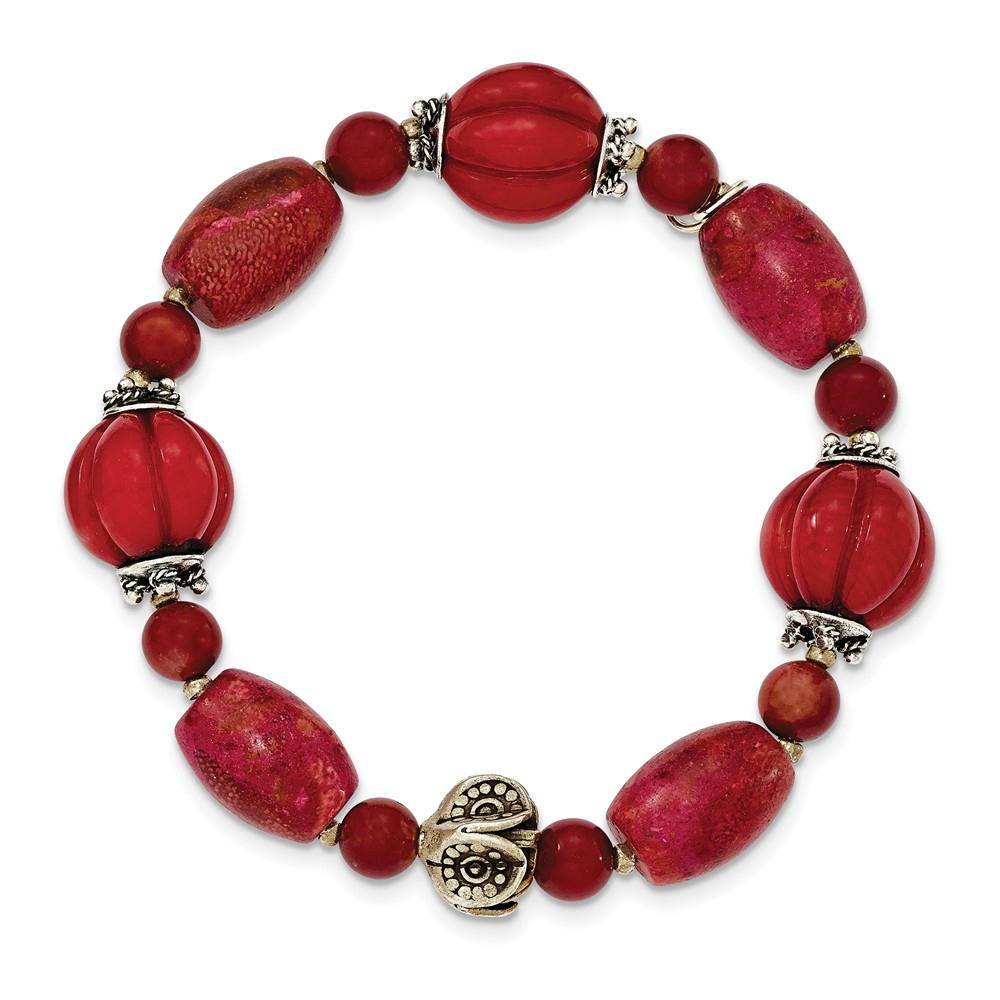 """925 Sterling Silver Antiqued Beads and Red Coral Stretch Bracelet 563"""" (12mm) by"""