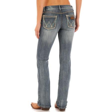 wrangler womens retro sadie low rise stretch boot cut jean, medium blue, 3x34