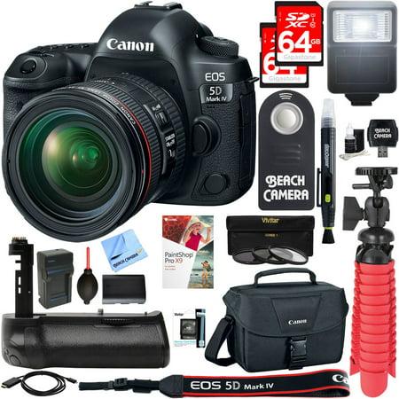Canon EOS 5D Mark IV 30.4 MP Full Frame CMOS DSLR Camera + EF 24-70mm f/4L IS USM Lens + Accessory