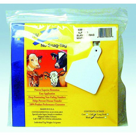 Datamars-Z Tags Blank Ear Tags- White 25 Count/calf Datamars-Z Tags Blank Ear Tags- White 25 Count/calf