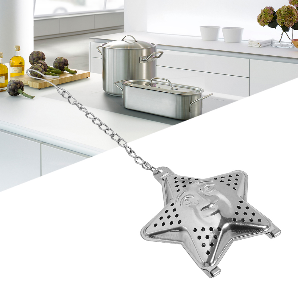 Cute Stainless Steel Loose Tea Infuser Leaf Strainer Filter Diffuser Herbal Spice Star Chain,Tea diffuser,tea strainer