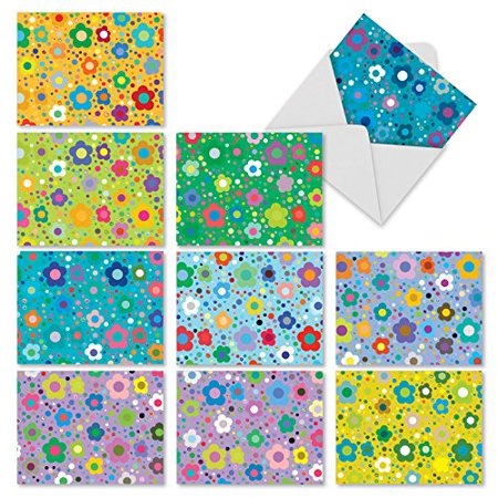 'M2357OCB FLOWER POWER' 10 Assorted All Occasions Greeting Cards Featuring Sweet and Simple Flower Designs in Bright and Vibrant Colors with Envelopes by The Best Card