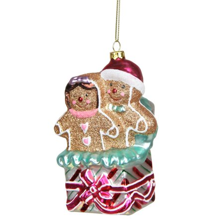 Northlight Seasonal Glittered Gingerbread Man and Woman in Gift Box Glass Christmas Ornament
