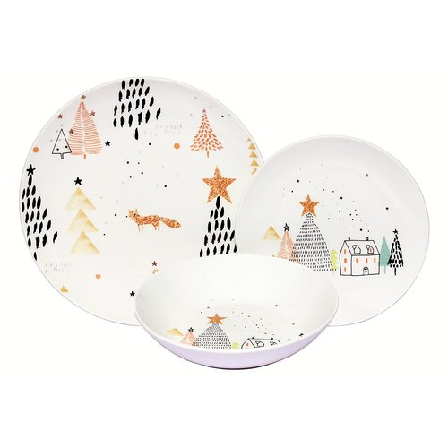 Latitude Run Warleigh Winter Fox Porcelain Coupe 18 Piece Dinnerware Set Service for 6  sc 1 st  Walmart : winter dinnerware sets - Pezcame.Com