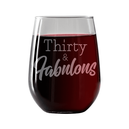 Thirty and Fabulous |Stemless Wine Glass 17oz | Laser etched, dishwasher safe, chip resistant lip,  Made in the (Laser Etched Dichroic Glass)
