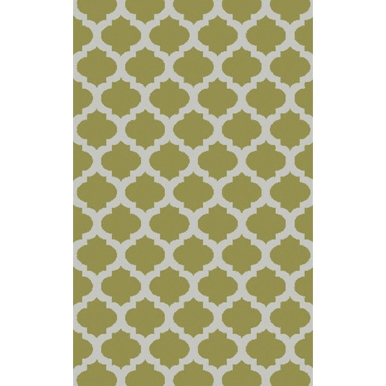 2' x 3' Contempo Quatrefoil Stone Gray and Olivine Green Hand Tufted Area Throw Rug