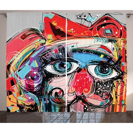 Art Decor Curtains 2 Panels Set, Grafitti like Sketchy Colorful Painting with Human like Face Dog Animal Image , Window Drapes for Living Room Bedroom, 108W X 90L Inches, Multi Colored, by Ambesonne