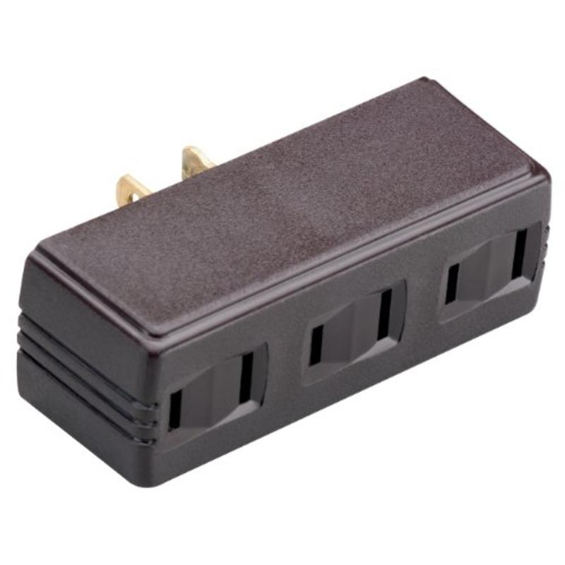 One To Three Outlet Adapter Polarized, Brown Make Adding Outlets Easy 63 Brown
