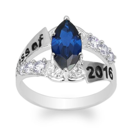925 Sterling Silver Graduation 2016 School Ring with Marquise Dark Blue CZ Size 4-9 (Walmart Graduation Rings)