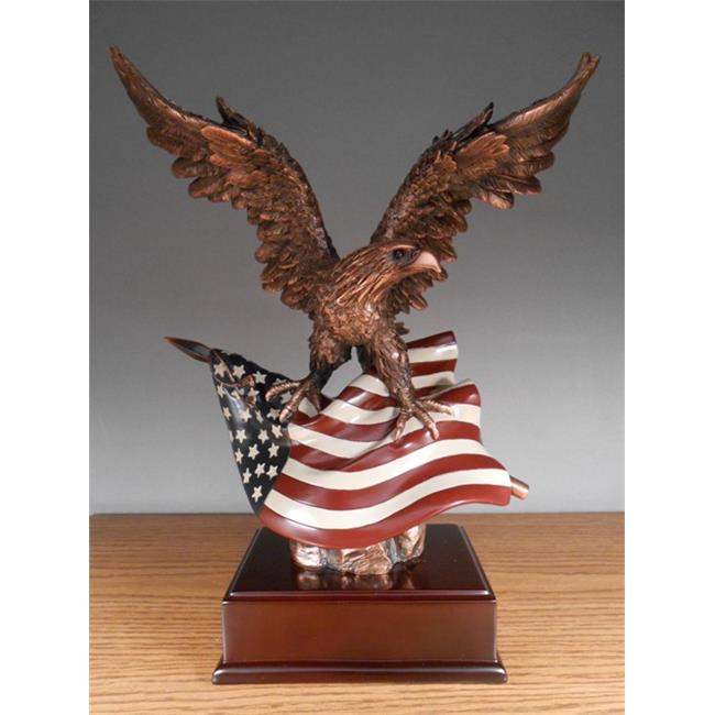 Marian Imports F51154 Eagle With Flag Bronze Plated Resin Sculpture - 12 x 7 x 15 inch
