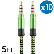 10x 3.5Mm Male To Male Audio Cable by FREEDOMTECH 5FT Universal Auxiliary Cord 3.5mm Male to Male Round Braided Audio Aux Cable w/Aluminum Connector for iPod iPhone iPads Galaxy Home Car Stereos