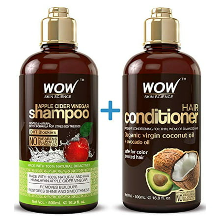 WOW Apple Cider Vinegar Shampoo & Hair Conditioner Set - (2 x 16.9 Fl Oz / 500mL) - Increase Gloss, Hydration, Shine - Reduce Itchy Scalp, Dandruff & Frizz - No Parabens or Sulfates - All Hair