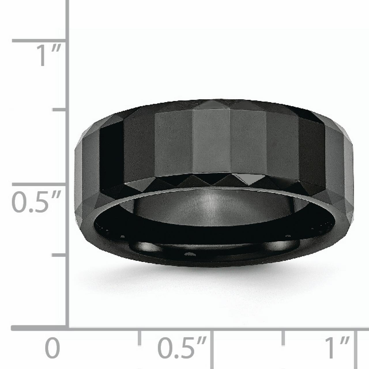 Ceramic Black Faceted 8mm Beveled Edge Wedding Ring Band Size 11.50 Fancy Fashion Jewelry Gifts For Women For Her - image 5 de 6