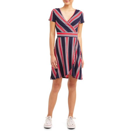 Skin Tight Dresses For Juniors (Juniors' Yummy Short Sleeve Stripe Wrap)