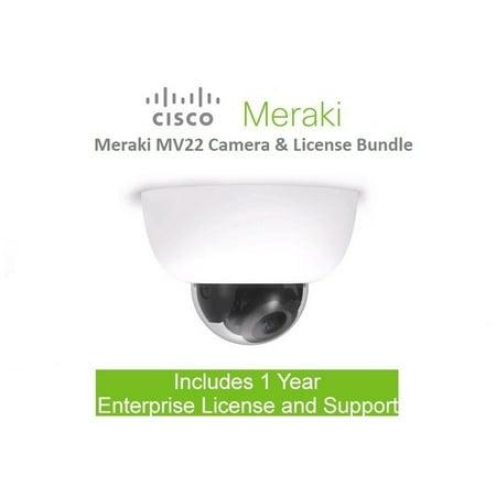Cisco Meraki MV22 Indoor Cloud Managd Security Camera Includes 1 Year License Bundles