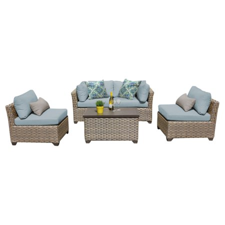TK Classics Monterey Wicker 5 Piece Patio Conversation Set with 2 Sets of Cushion Covers
