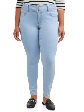 Wax Jean Juniors' Plus Size 3-Button Push-Up Skinny Jegging