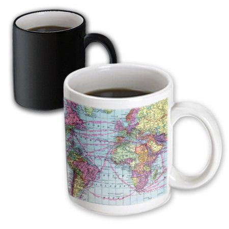 3dRose Colorful Vintage World Map - distance calculations between countries on lines - south america africa, Magic Transforming Mug, 11oz